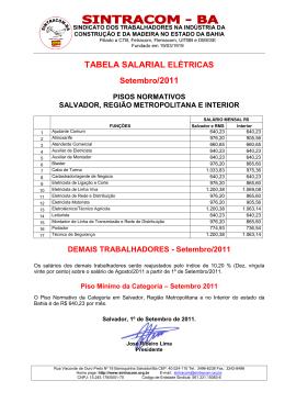 tabela salários elétricos - salvador / rms / interior - SINTRACOM-BA