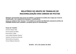 relatório do grupo de trabalho de racionalização dos