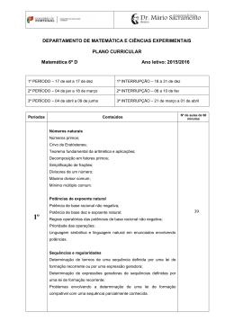 DEPARTAMENTO DE MATEMÁTICA E CIÊNCIAS