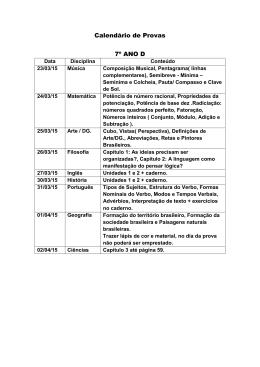 Calendário de Provas 7º ANO D