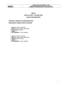 ANEXO I EDITAL 02/2015 - PCG/SESC PARÁ VAGAS E PRÉ