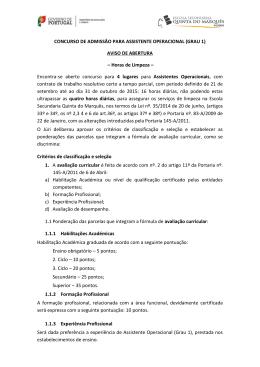 CONCURSO DE ADMISSÂO PARA ASSISTENTE OPERACIONAL