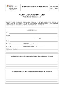 Ficha de candidatura para o concurso de Assistente Operacional