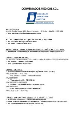RELAÇÃO DOS MÉDICOS CREDENCIADOS AO CONVÊNIO/CDL