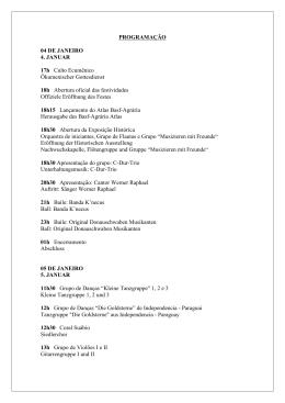 PROGRAMAÇÃO 04 DE JANEIRO 4. JANUAR 17h Culto