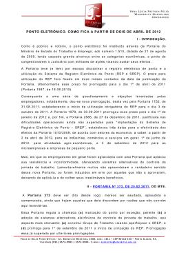 PONTO ELETRÔNICO E A PORTARIA 373 DO MTE