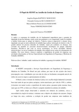 Artigo 9 - O Papel do SESMT no Auxílio da Gestão de Empresas