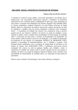 INCLUSÃO SOCIAL ATRAVÉS DA UTILIZAÇÃO DE OFICINAS