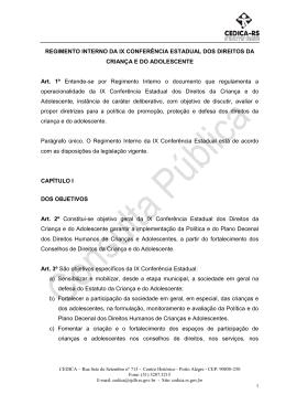 Regimento Interno - Conselho Estadual da Criança e do Adolescente
