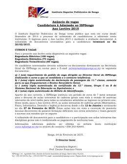 República de Moçambique - instituto superior politécnico de songo