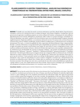 planejamento e gestão territorial. análise das dinâmicas