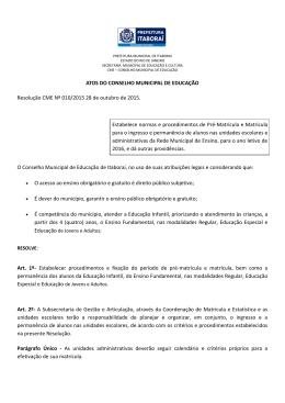 ATOS DO CONSELHO MUNICIPAL DE EDUCAÇÃO Resolução