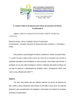 Resumo expandido - Sociedade Brasileira de Fonoaudiologia