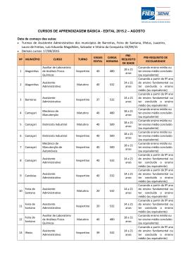 EDITAL 2015.2 – AGOSTO • Turmas de Assistente Administrativo