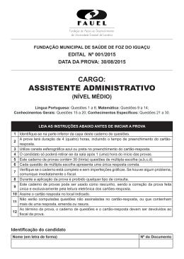 Prova - Cargo de Assistente Administrativo