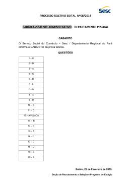 Gabarito Assitente Administrativo 082014