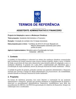 TORs - Assistente Administrativo e Financeiro 2012