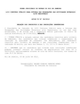 Aviso TJ Nº 84/2012 - Tribunal de Justiça do Estado do Rio de Janeiro