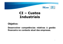 Custos Industriais Aulas 1,2 e 3