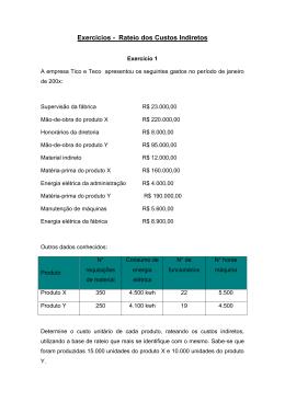 Exercícios - Rateio dos Custos Indiretos