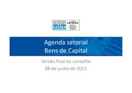 Agenda setorial Bens de Capital