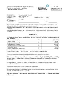 Universidade Comunitária da Região de Chapecó Área de Ciências