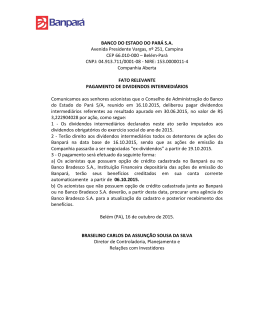 BANCO DO ESTADO DO PARÁ S.A. Avenida Presidente Vargas, nº