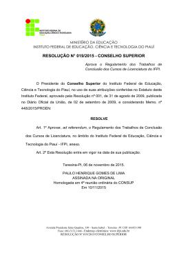 Ofício nº /2005/DG/CEFET-PI - Instituto Federal de Educação