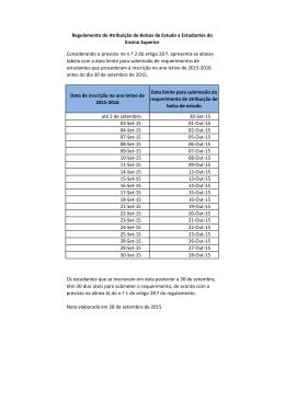 Data de inscrição no ano letivo de 2015-2016 Data limite