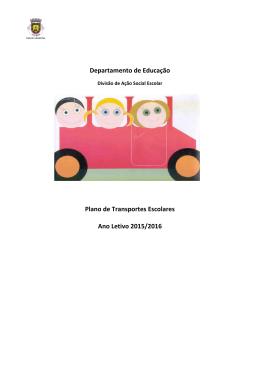 Departamento de Educação Plano de Transportes Escolares Ano
