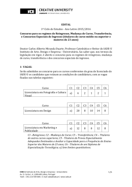 EDITAL 1º Ciclo de Estudos - Ano Letivo 2015/2016