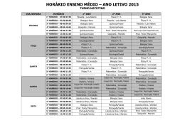 HORÁRIO ENSINO MÉDIO – ANO LETIVO 2015