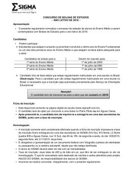 CONCURSO DE BOLSAS DE ESTUDOS – ANO LETIVO DE 2016