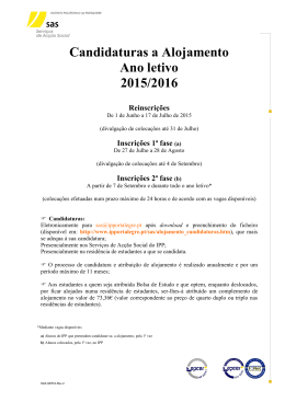 Candidaturas a Alojamento Ano letivo 2015/2016 Reinscrições