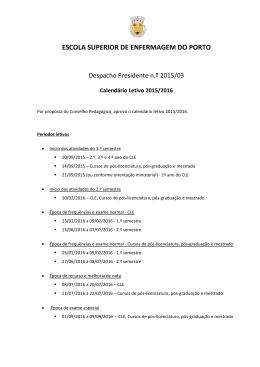 Calendário letivo 2015/2016 - Escola Superior de Enfermagem do
