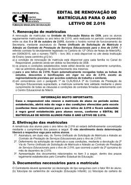 EDITAL DE RENOVAÇÃO DE MATRÍCULAS PARA O ANO LETIVO