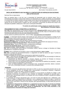 Circular de Matrícula 2016 - Colégio Passionista São Gabriel