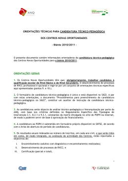 ORIENTAÇÕES TÉCNICAS PARA CANDIDATURA TÉCNICO