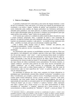 José Borges Neto (UFPR/CNPq) 1. Palavra e Paradigma. A