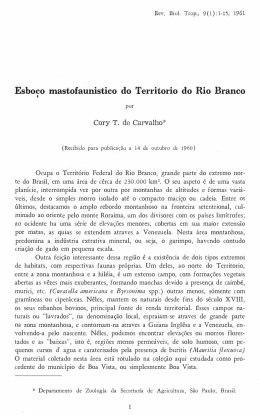 Esboco mastofaunistico do Territorio do Rio Branco