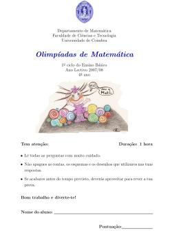 Provas 2007/08 - Universidade de Coimbra