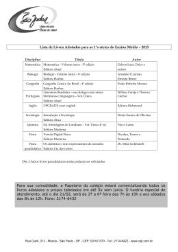 Lista de Livros Adotados para as 1ªs séries do Ensino Médio – 2015