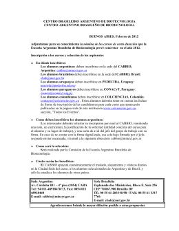 CENTRO BRASILEIRO ARGENTINO DE BIOTECNOLOGIA