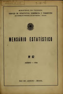 Mensário Estatístico Nº 62 - Memória Estatística do Brasil