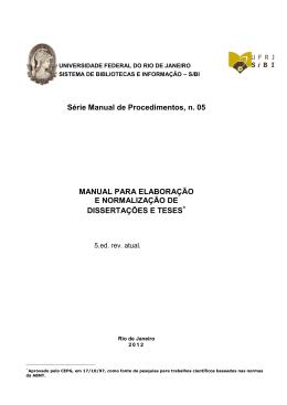 Manual para elaboração e normalização de Dissertações Teses