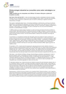 Press Release - ABBI - Associação Brasileira de Biotecnologia
