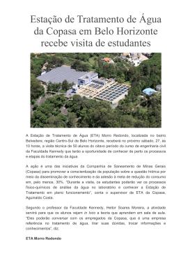 Estação de Tratamento de Água da Copasa em Belo Horizonte