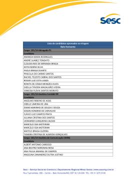 Lista de candidatos aprovados na triagem Belo Horizonte