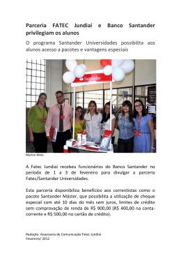 Parceria FATEC Jundiaí e Banco Santander privilegiam