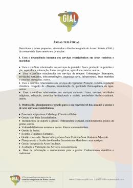 ÁREAS TEMÁTICAS Descritores e temas propostos, vinculados a